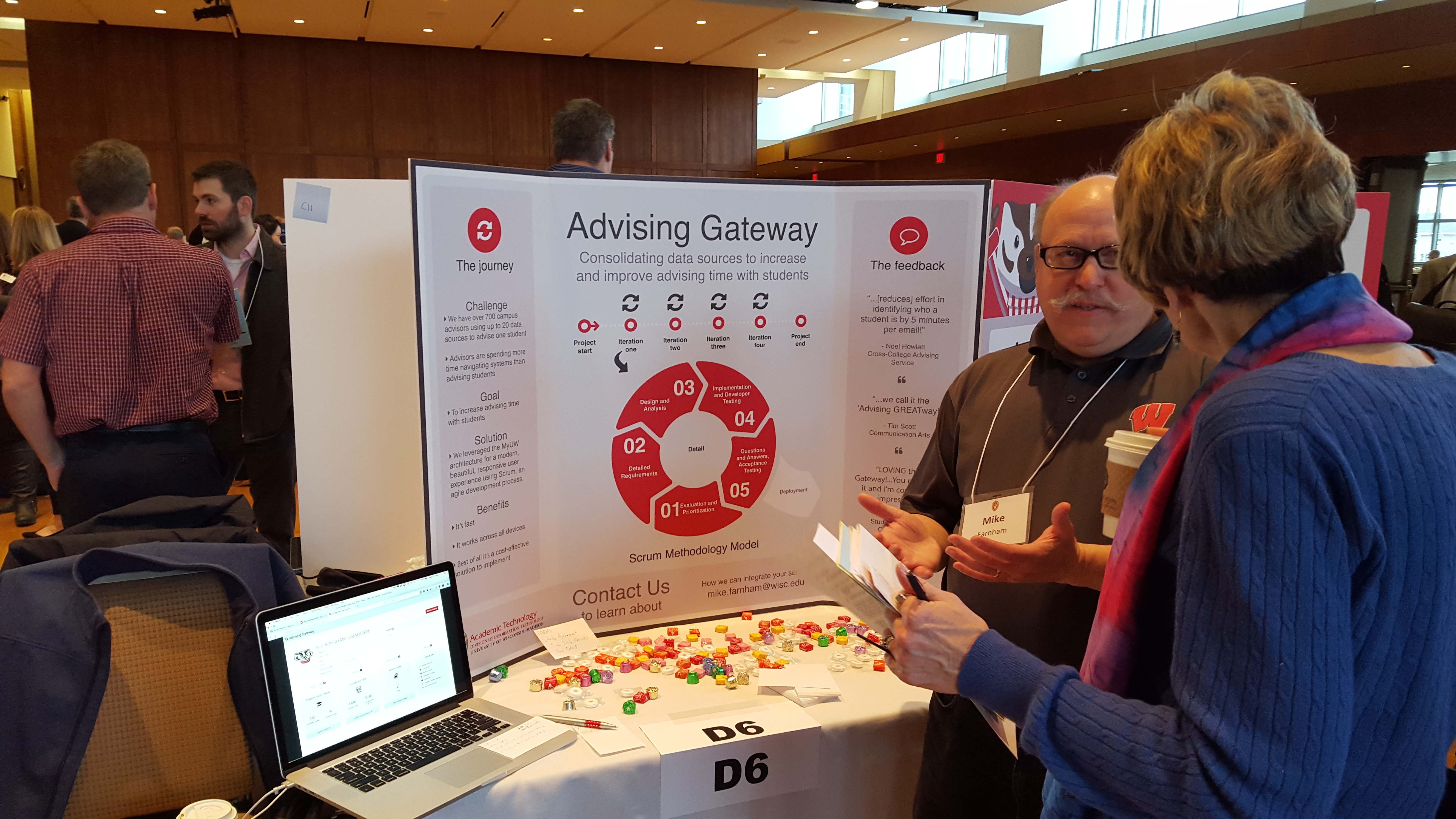 Mike Farnham walks a guest through the Scrum methodology and new features of the Advising Gateway
