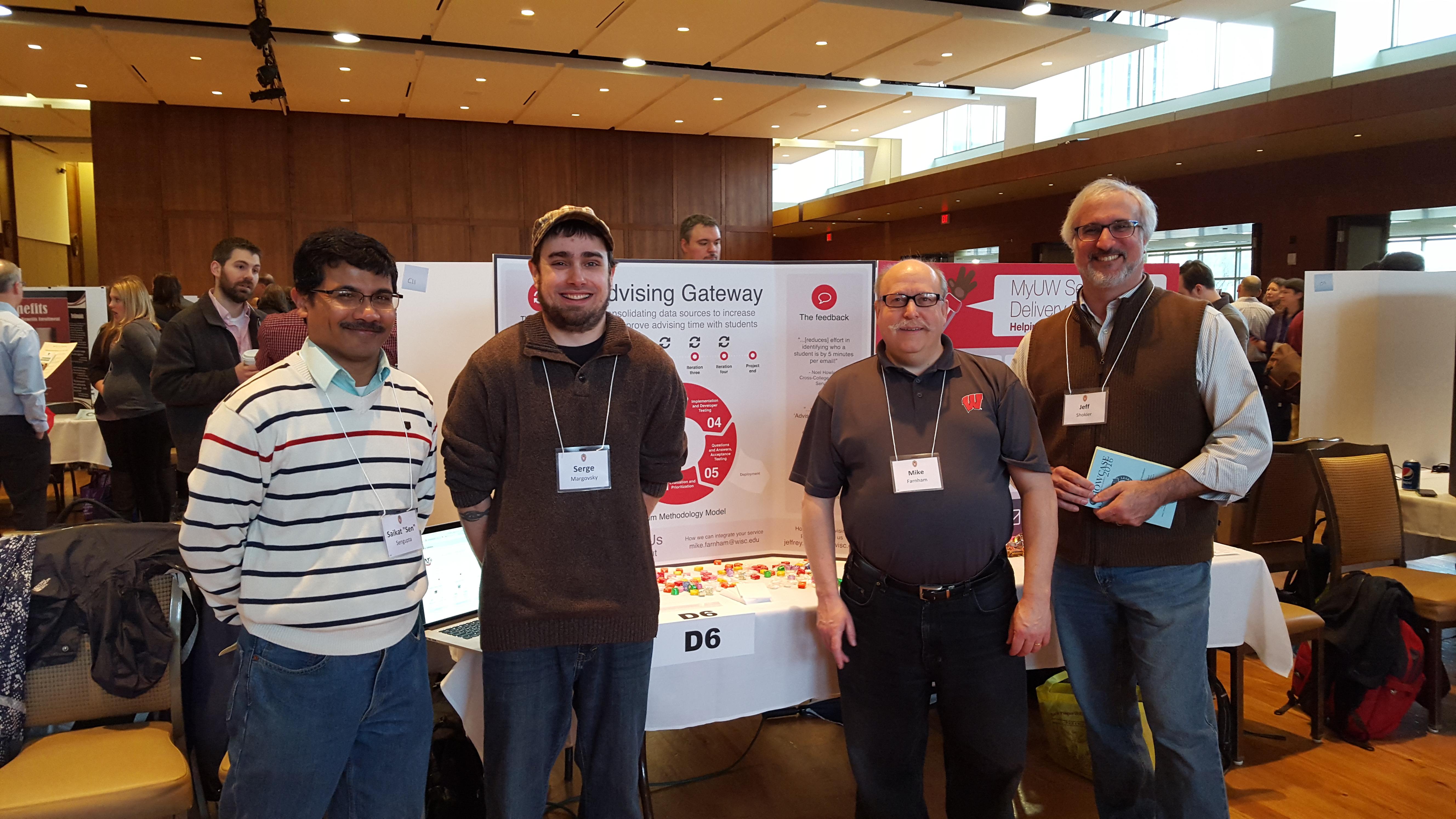 Saikat Sengupta, Serge Margovsky, Mike Farnham and Jeff Shokler at MUMAA's Advising Gateway poster