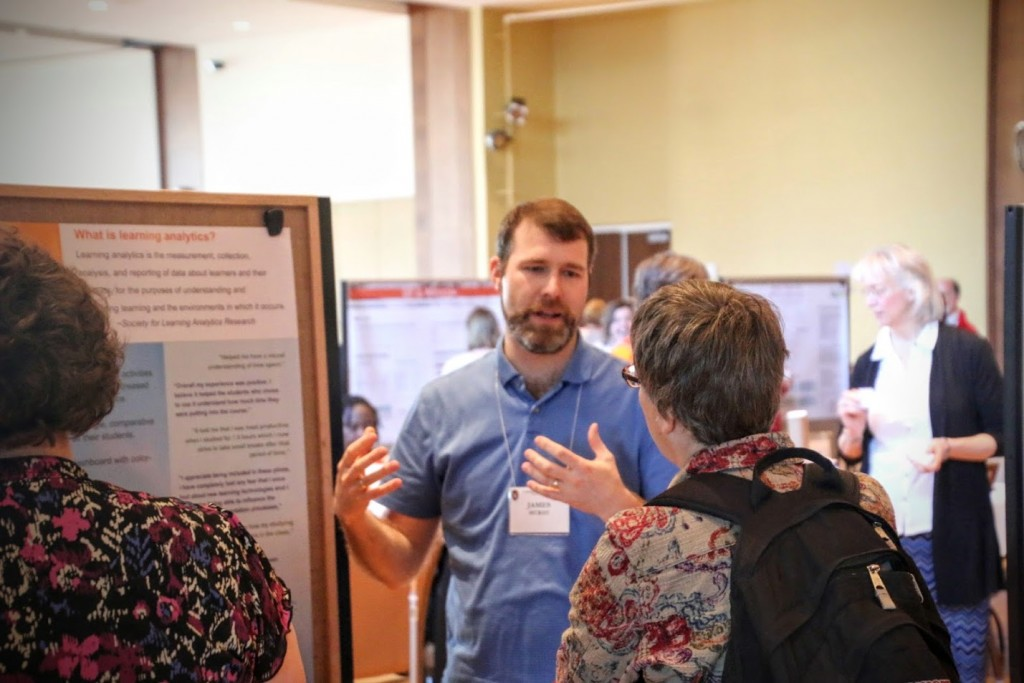 James McKay engages with an attendee about the Learning Analytics Tool Chest