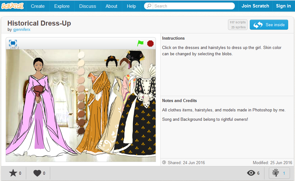 Screengrab of ITA Scratch Project - Historical Dress-up