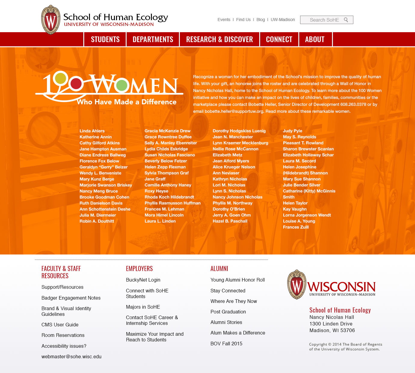 School of Human Ecology - 100 Women Web Page