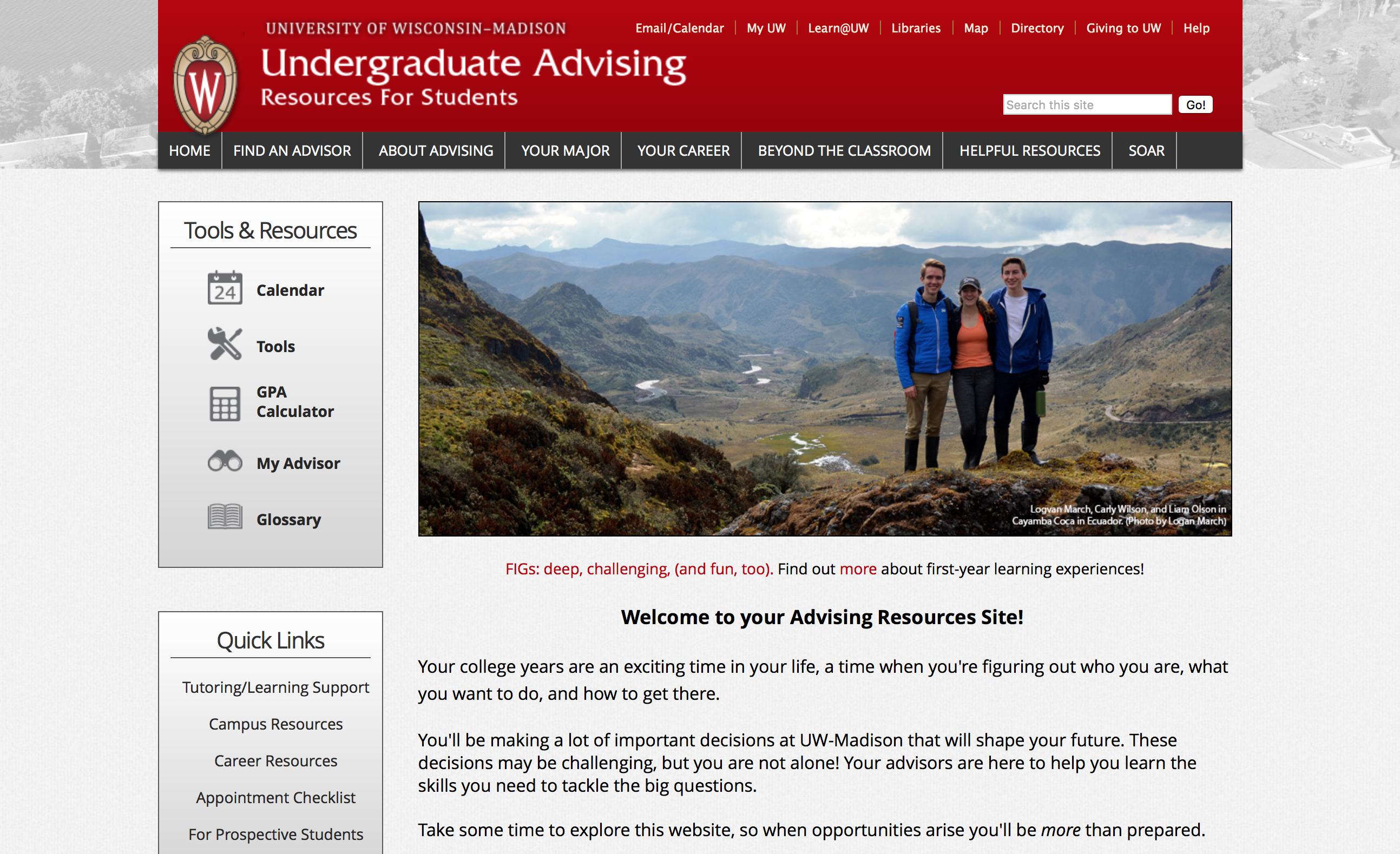 Undergraduate Advising Web Site