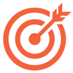 Vector illustration of orange target with an arrow in the bullseye